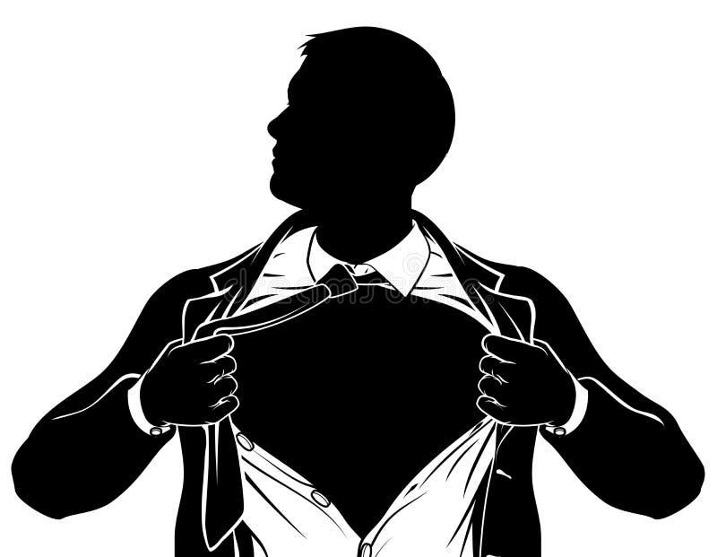 Bohatera Biznesowy mężczyzna Drzeje koszula Pokazuje klatkę piersiową ilustracji