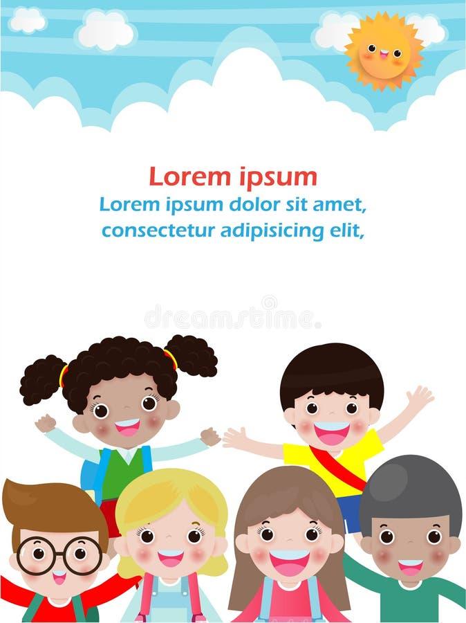 Bohatera dzieciak na tle, szablon dla reklamowej broszurki, plakat tw?j tekst, Wektorowa ilustracja royalty ilustracja