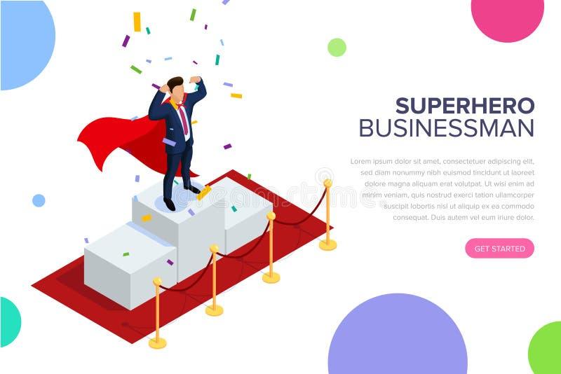 Bohatera kierownika lub biznesmena pojęcie z charakterami Może używać dla sieć sztandaru, infographics, bohaterów wizerunki miesz ilustracji