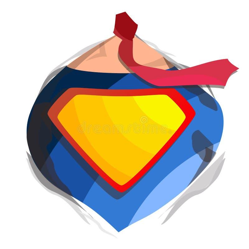 Bohatera loga wektor Diamentowy osłona symbolu kształt Odznak supermocarstwa Płaska kreskówki komiczki ilustracja ilustracja wektor