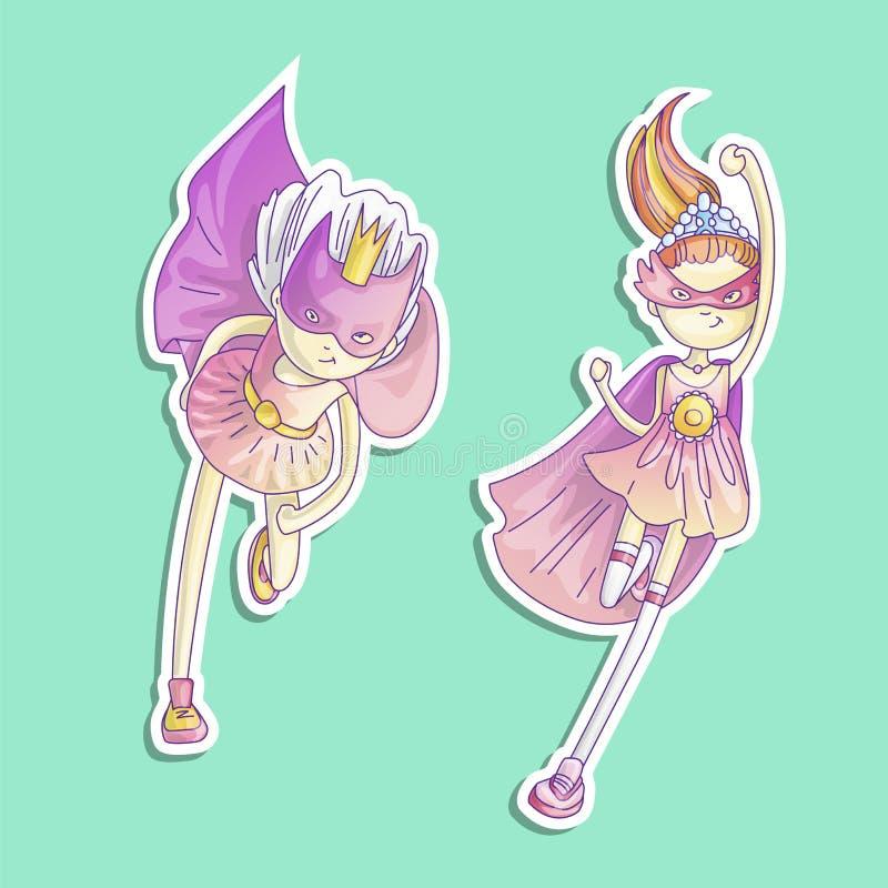 Bohatera princess, mała nastoletnia dziewczyna jako bohater kreskówki wektorowa ilustracja z gradientami Super bohatera dziewczyn royalty ilustracja