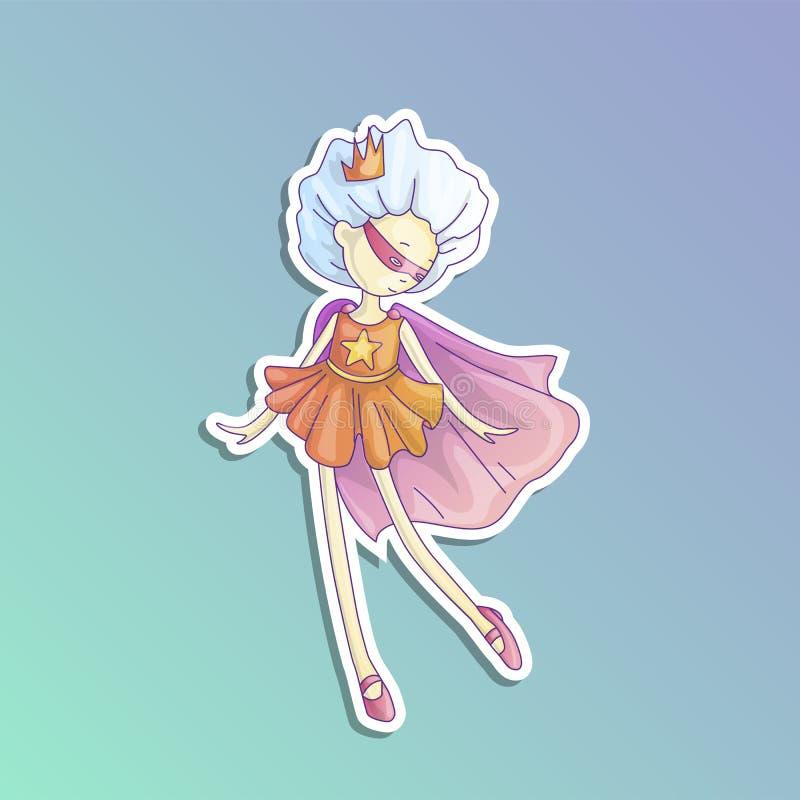Bohatera princess, mała nastoletnia dziewczyna jako bohater kreskówki wektorowa ilustracja z gradientami Super bohatera dziewczyn ilustracji