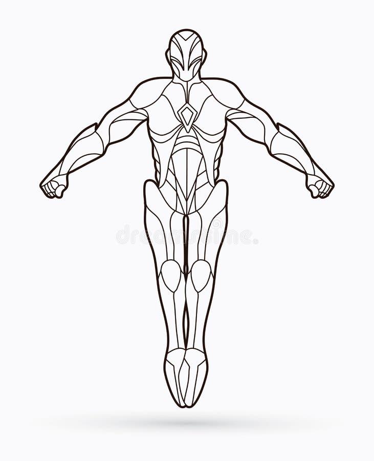 Bohatera robota akcja, kreskówka bohater ilustracji