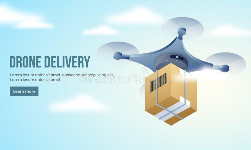 Bohatera sztandar z ilustracją quadcopter i wysyłki pudełko dla ilustracja wektor