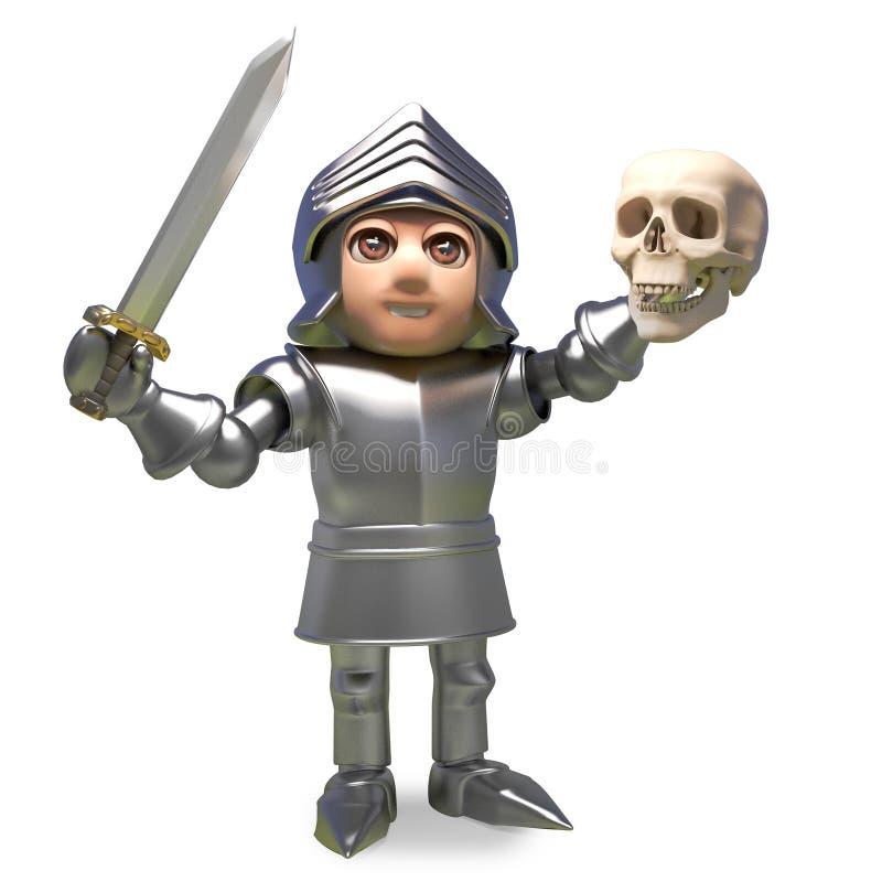 Bohaterski średniowieczny rycerz w zbroi trzyma czaszkę w górę w zwycięstwie, 3d ilustracja ilustracji