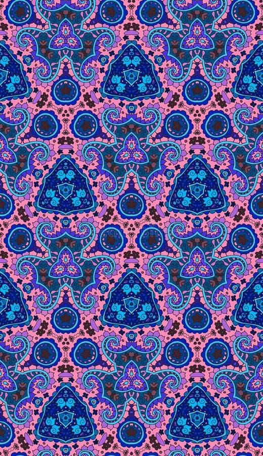 Boheems naadloos patroon voor druk op stof Siercaleidoscoop stock illustratie