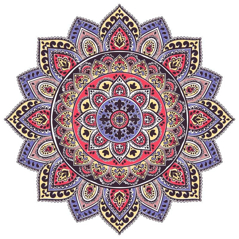 Boheemse Indische Mandala-druk De uitstekende stijl van de Hennatatoegering royalty-vrije illustratie