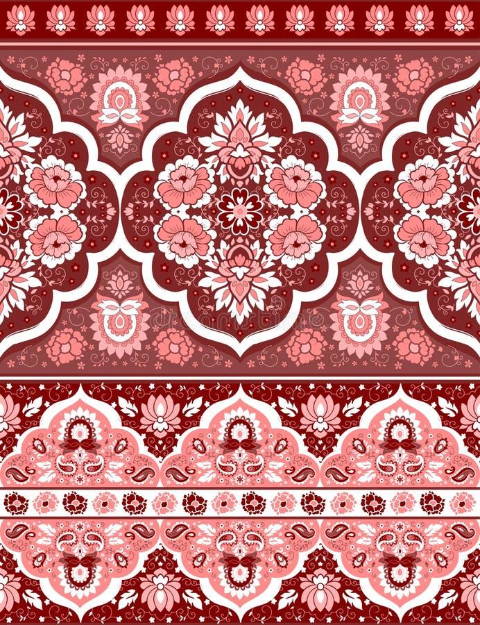 Boheemse Indische Mandala-druk De uitstekende stijl van de Hennatatoegering stock illustratie