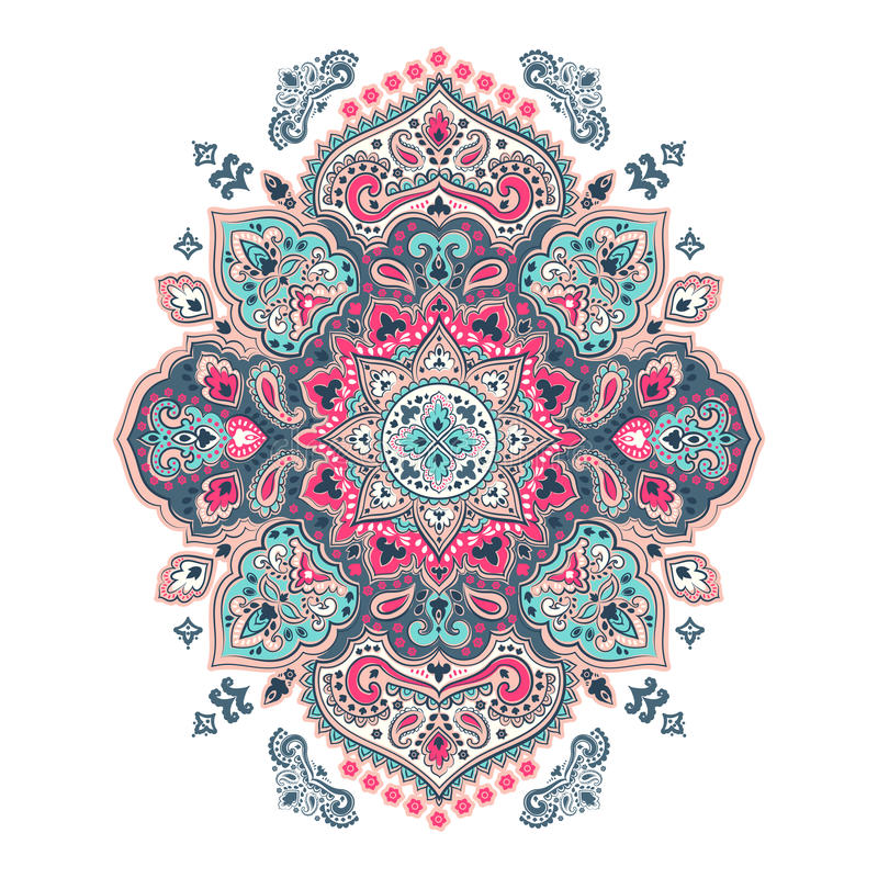 Boheemse Indische Mandala-handdoekdruk De uitstekende stijl van de Hennatatoegering royalty-vrije illustratie