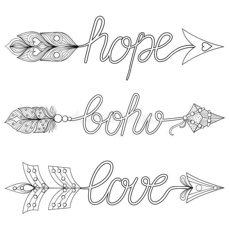 Boheemse Pijlen, Tekens Boho, Liefde, Hoop met veren Decorativ royalty-vrije illustratie
