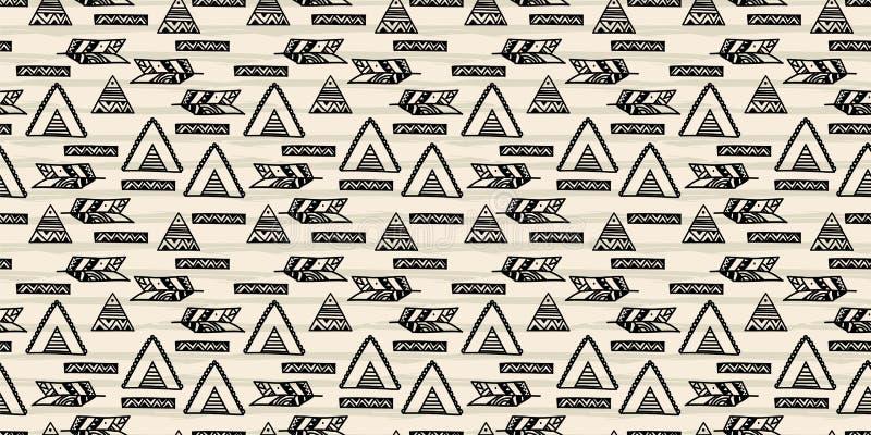Bohemian abstract pattern tribal seamless drawing boho chic design vector illustration