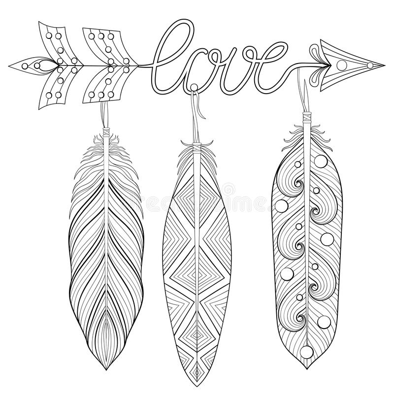 Bohemian Arrow, Hand drawn Amulet wih word Love and feathers. Esoteric decor for adult coloring pages, art therapy, ethnic patterned t-shirt print. Boho chic vector illustration