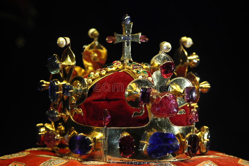 Bohemian Crown Jewels in Prague, Czech Republic. PRAGUE, CZECH REPUBLIC - MAY 10, 2013: Crown of Saint Wenceslas displayed at the exhibition of the Bohemian stock photos