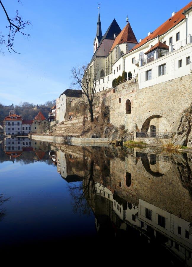 Bohemian Crumlaw. Krumlov (German: Krummau an der Moldau or Boehmisch Krummau) or Crumlaw or Bohemian Crumlaw on the Vltava (or Moldova) River, a medieval town stock photo