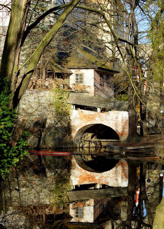Bohemian Crumlaw. The Vltava River at Crumlaw. Krumlov (German: Krummau an der Moldau or Boehmisch Krummau) or Crumlaw or Bohemian Crumlaw on the Vltava (or royalty free stock photography
