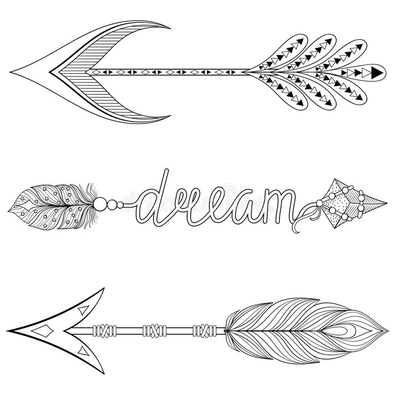 Bohemian Dream Arrows Set With Feathers For Adult Coloring Pages Stock  Vector - Illustration Of Hipster, Black: 84670184