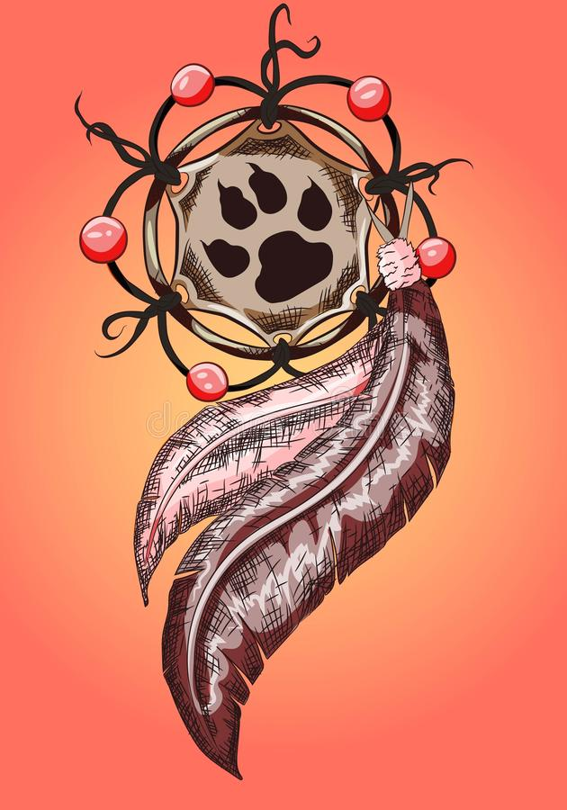 Bohemian dreamcatcher ornament with leather and animal claw paw print illustration. Earth tones on beads and feathers. Shaman ethn stock illustration