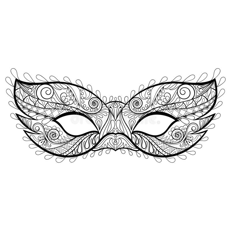 Bohemian Festive Vector Mask Silhouette For Adult Coloring