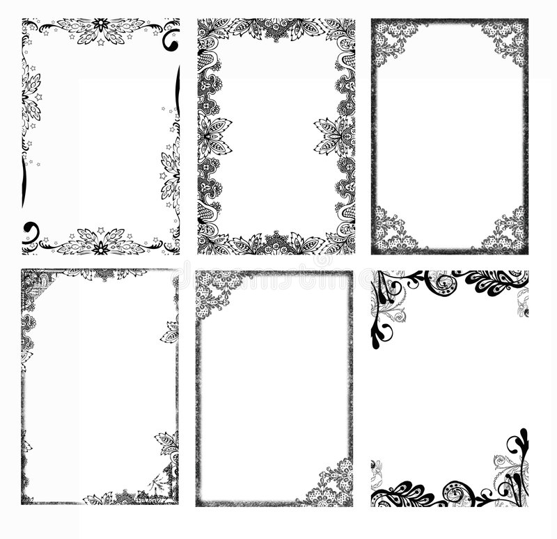 Bohemian Frames. Six bohemian floral photo frames for craft, scrapbooking and designs. They are 4x6 inches in size