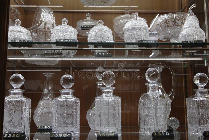 Bohemian glass in a souvenir shop, Prague, Czech Republic. PRAGUE, CZECH REPUBLIC - NOVEMBER 9, 2014: Bohemian glass offered by the souvenir shop Erpet Bohemia royalty free stock images