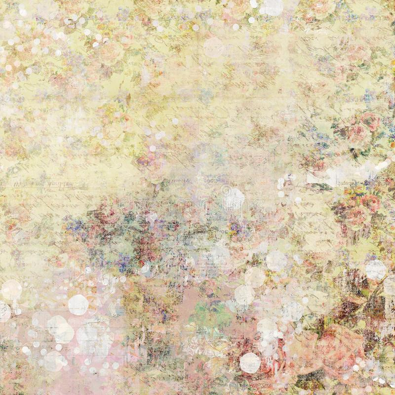 Bohemian gypsy floral antique vintage grungy shabby chic artistic abstract graphical background with roses. Bohemian gypsy floral antique vintage grungy shabby stock photo