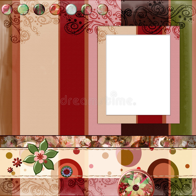 Free Bohemian Gypsy Style Scrapbook Album Page Layout 8x8 Inches Royalty Free Stock Images - 844649