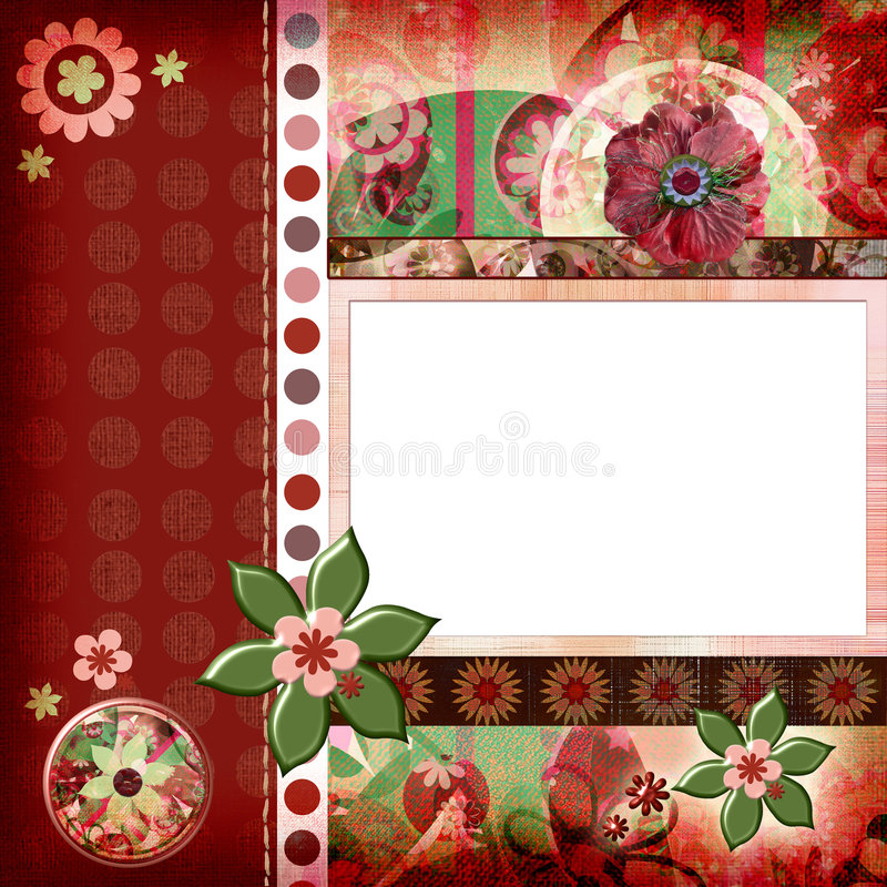 Bohemian Gypsy style scrapbook album page layout 8x8 inches royalty free illustration