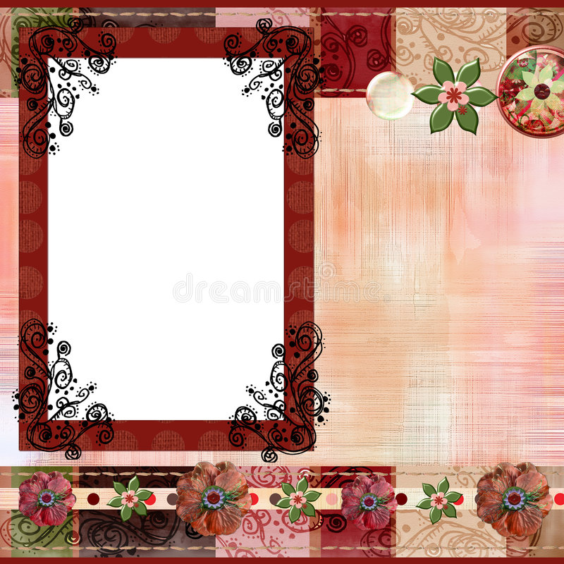 Download Bohemian Gypsy Style Scrapbook Album Page Layout 8x8 Inches Stock Image - Image: 863481