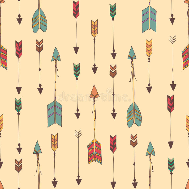 Bohemian hand drawn arrows, seamless pattern royalty free illustration
