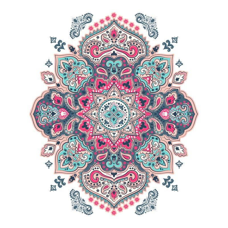 Bohemian Indian Mandala towel print. Vintage Henna tattoo style royalty free illustration