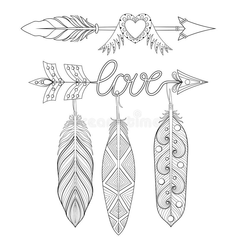 Feather flower tattoo design sketch coloring page for Coloring pages of feathers