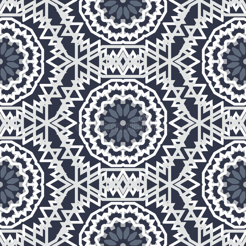 Bohemian pattern with big abstract flowers vector illustration