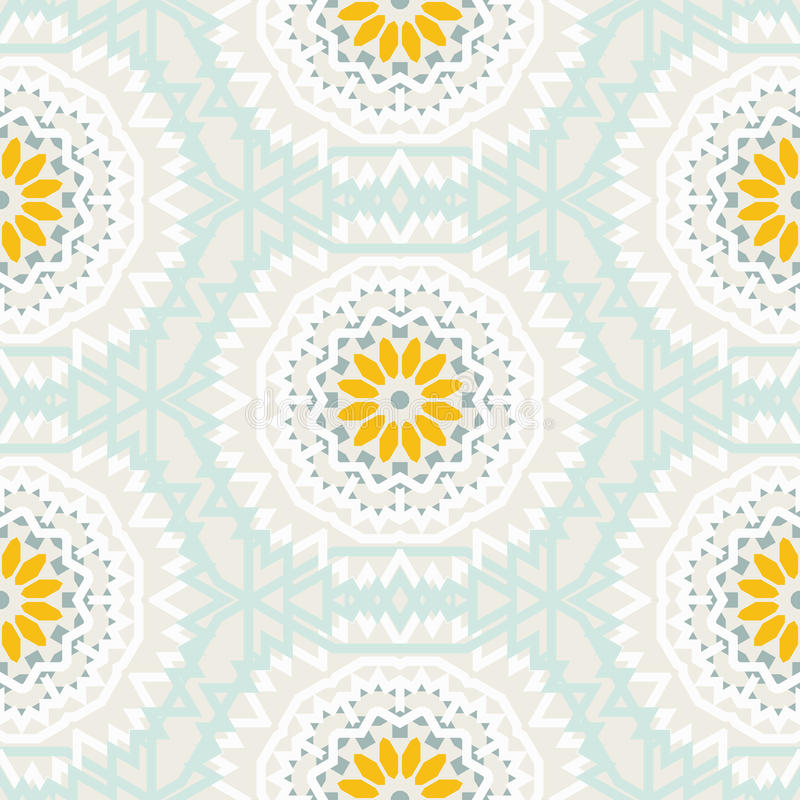 Bohemian pattern with big abstract flowers royalty free illustration