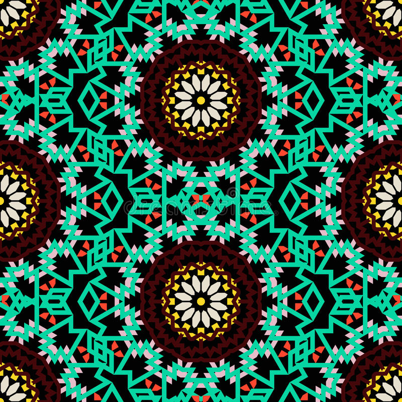 Bohemian pattern with big abstract flowers. Vector tribal colorful bohemian pattern with big abstract flowers in rich dark color. Geometric boho chic background vector illustration