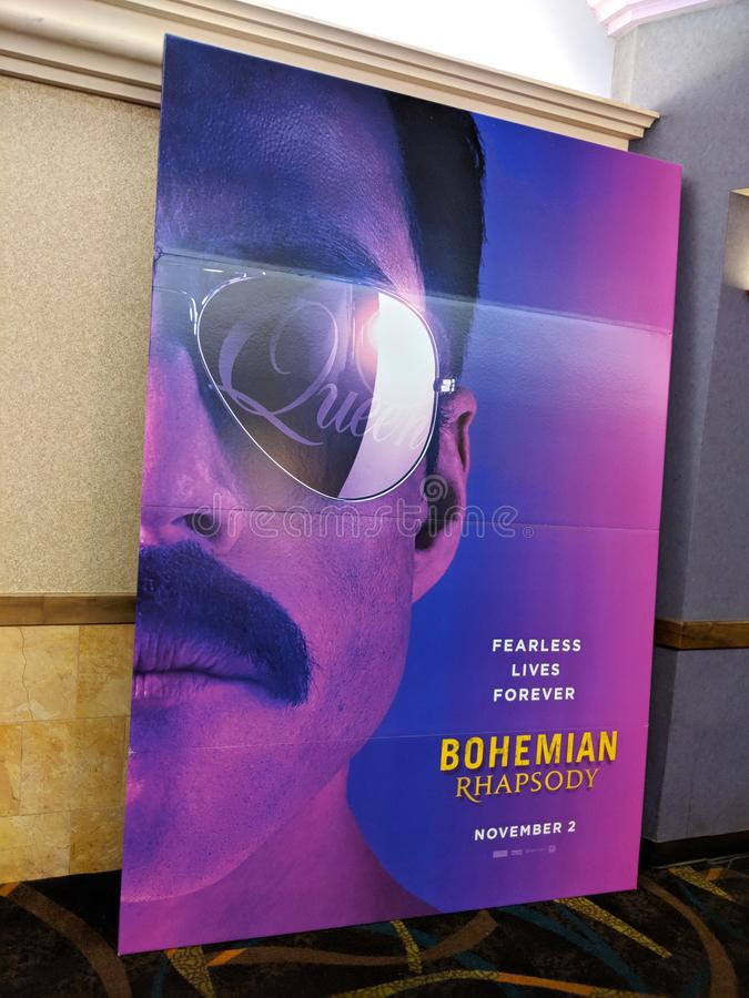 Bohemian Rhapsody Movie Poster featuring the band Queen. Honolulu - June 3, 2018: Bohemian Rhapsody Movie Poster featuring the band Queen at Regal Movie Theater stock images