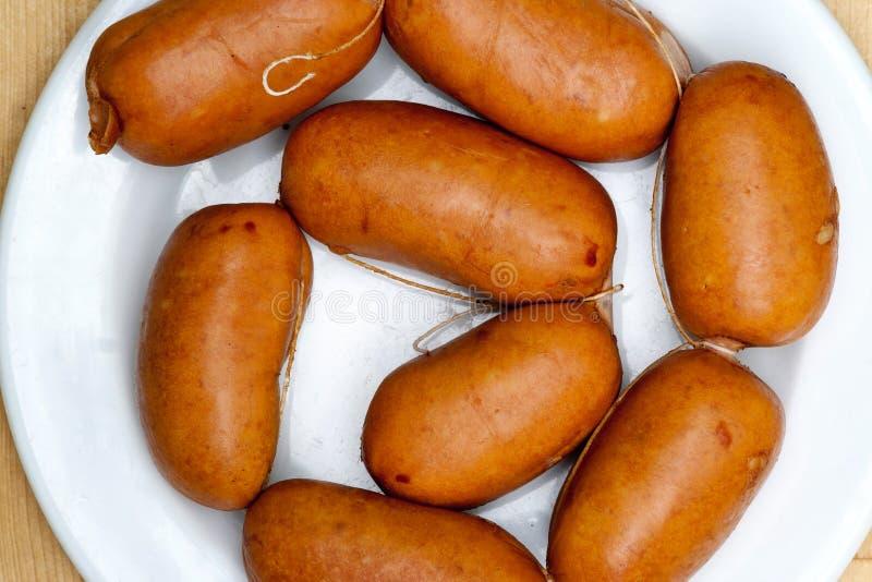 Bohemian Sausage - raw pork sausages royalty free stock photos