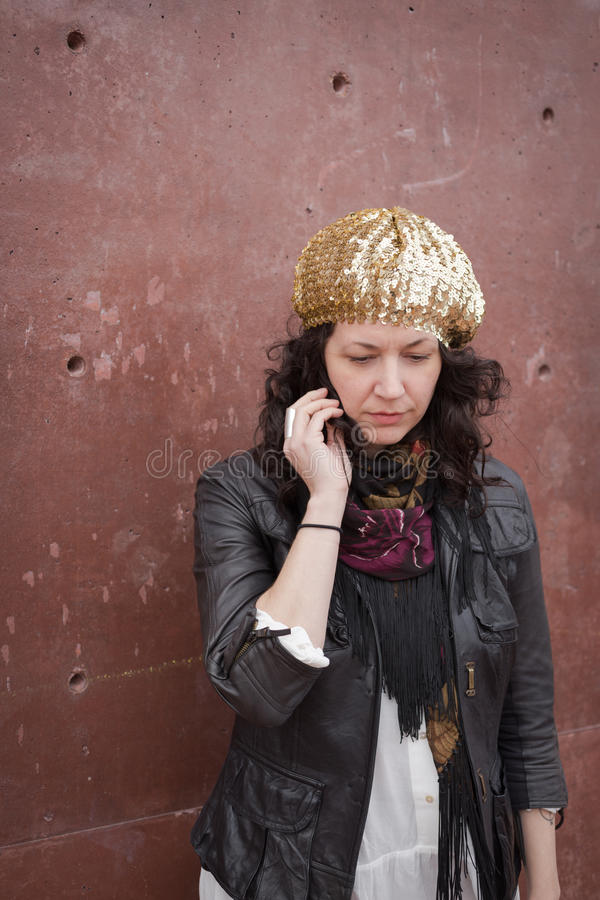 Bohemian style clothing on brunette woman stock photography