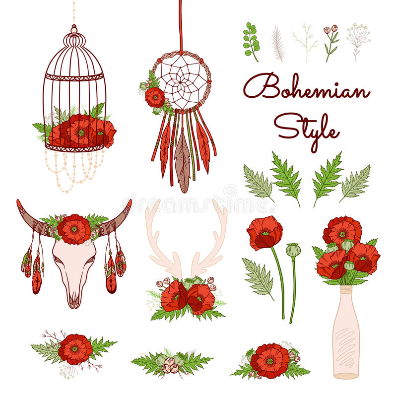 Bohemian style collection with poppies. royalty free illustration