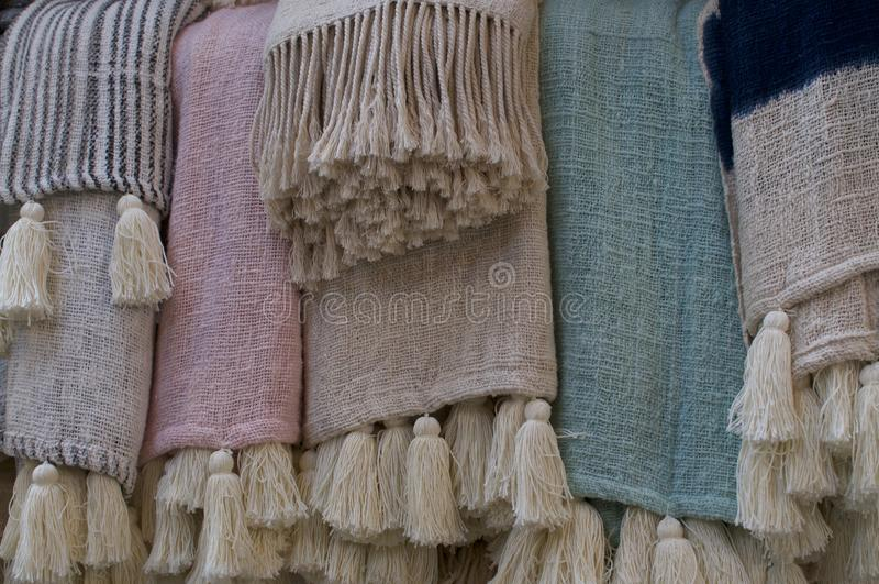 Bohemian style pastel rugs stock image
