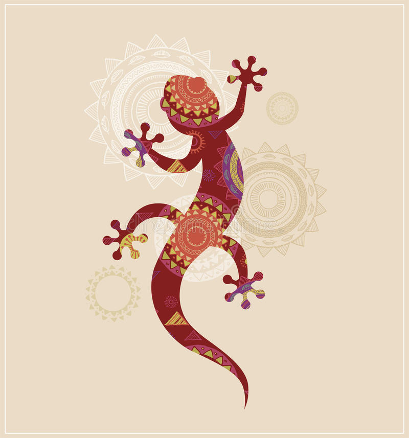 Bohemian, Tribal, Ethnic background with lizard vector illustration