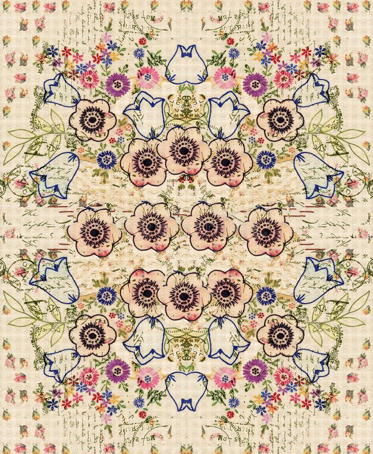 Bohemian Vintage Floral Bouquet Collage Background wall art design. Vintage Floral bouquet Collage Background design with vintage text and embroidery for wall vector illustration