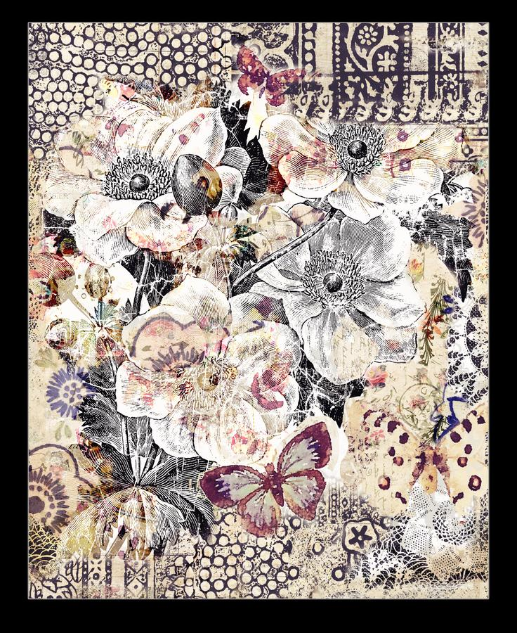 Bohemian Vintage Floral Bouquet Collage Background wanddesign stock illustratie