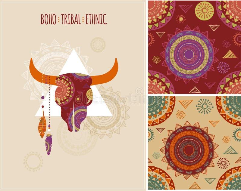 Bohemio, tribal, origen étnico con el toro ilustración del vector