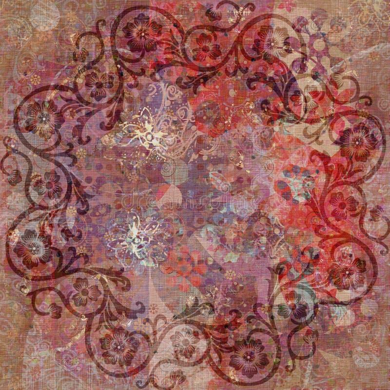 bohemisk blom- grungetapestrytappning royaltyfri illustrationer