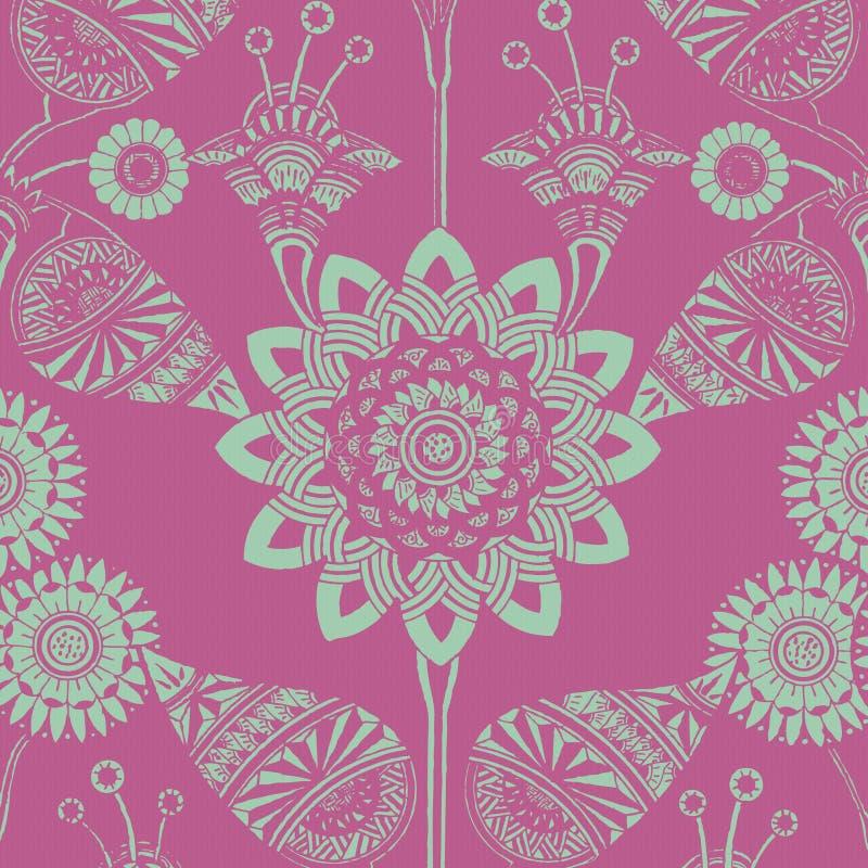 bohemisk blom- skraj zigensk stil för bakgrund royaltyfri illustrationer