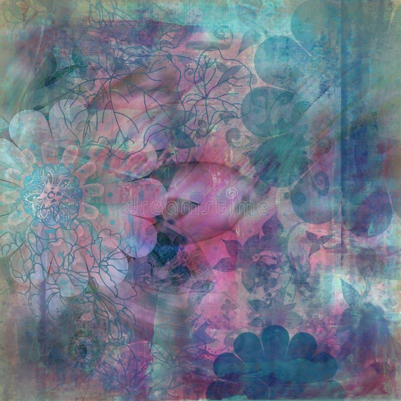 bohemisk blom- zigensk scrapbooktapestry för bakgrund stock illustrationer