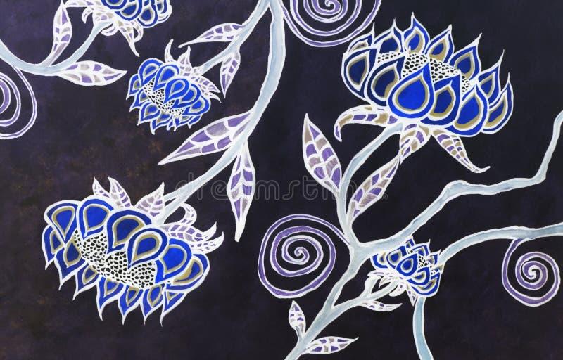 Bohemisk blommakonst för vattenfärg royaltyfria bilder