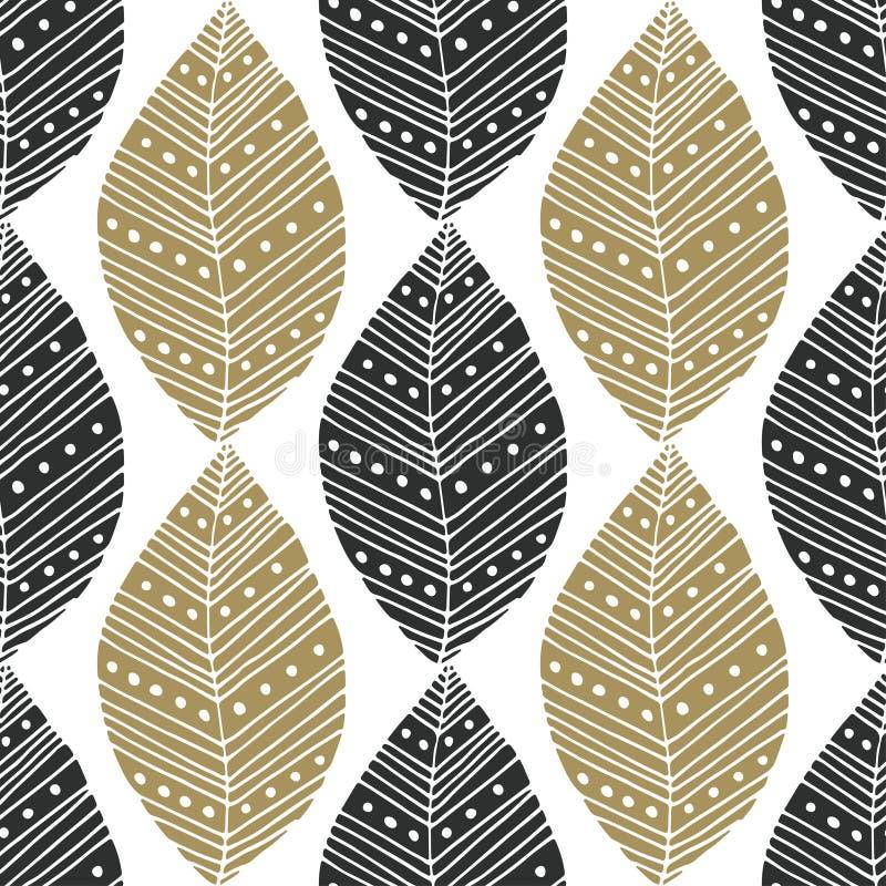 Bohemisk sömlös modell med svarta och guld- etniska sidor Vektortextilprovkarta eller förpackande design stam- design vektor illustrationer