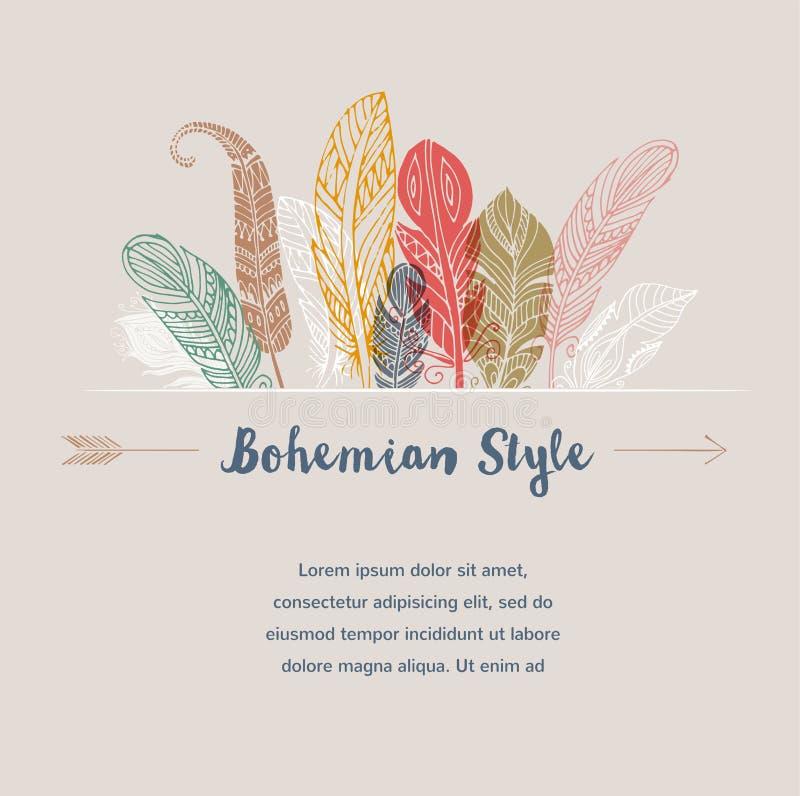 Bohemisk stilaffisch med zigenska färgrika fjädrar stock illustrationer