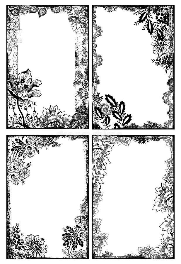 Bohemiska blom- ramar royaltyfri illustrationer